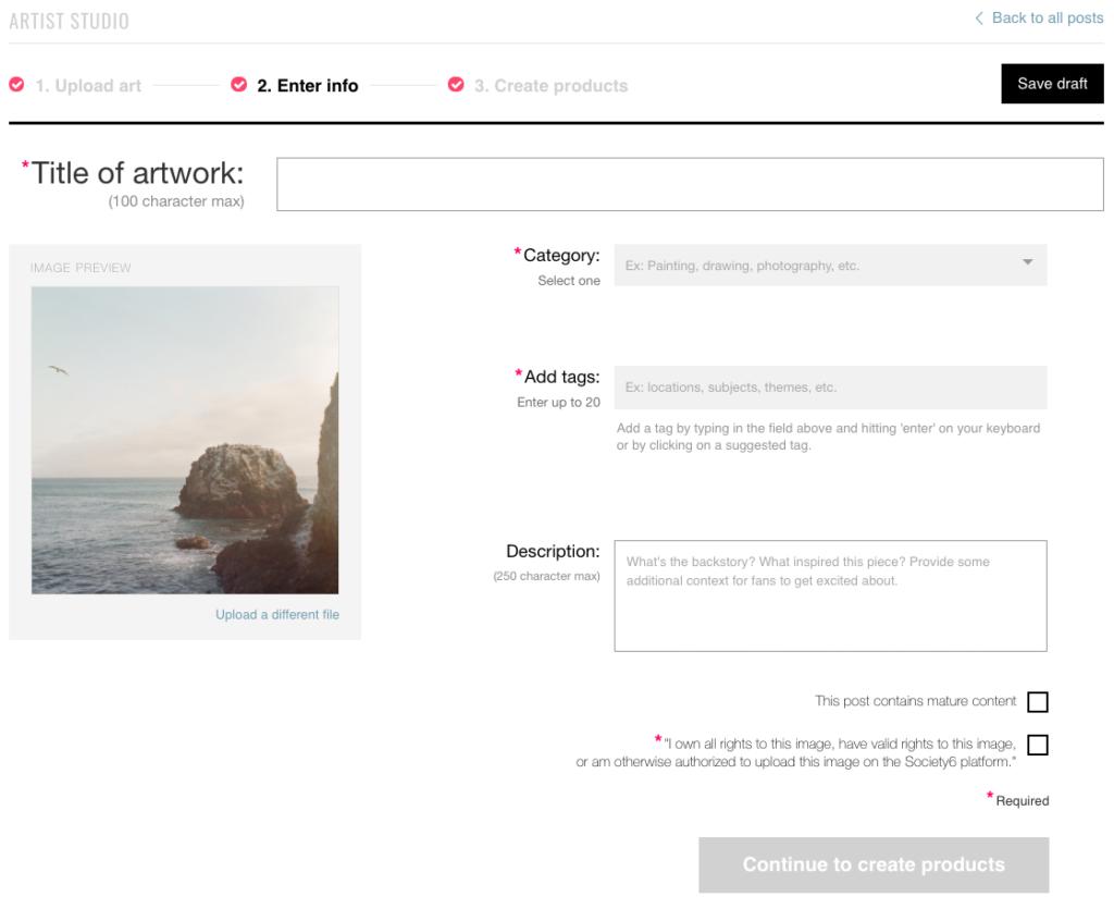 Subir arte digital a plataforma online de venta. Títulos y descripcion de la obra.